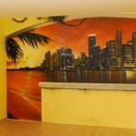 Graffiti-Trompe l oeil-Stadt-Schicht-Sonne-Palmen-palge