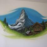 Swiss-Chalet-Graffiti - Wiese-Tanne - Edelweiß-Matterhorn-Trompe-l-oiel-kinderzimmer