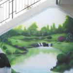 Trompe-l-oei-Graffiti-Panda-asiatische Landschaft-Garten-Bambus-Zen-Herbst-of-Wasser-Kaskade-Baum-Gras