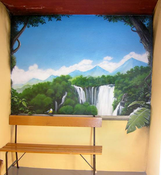 trompe-l-oeil-fenetre-oiseau-cascade-foret-jungle-plante-balcon-fleur-nuage